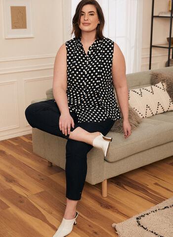Polka Dot Print Sleeveless Blouse, Blue,  top, blouse, shirt collar, sleeveless, button down, layered, polka dot, spring summer 2021