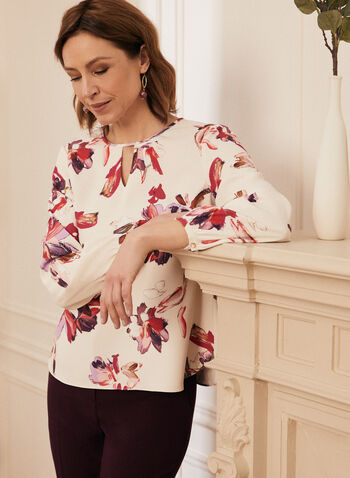 Floral Print 3/4 Sleeve Blouse, White,  top, blouse, floral, puff sleeve, watercolour, round neck, keyhole, spring summer 2021