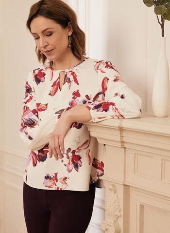 Blouse à motif floral et manches 3/4 , Blanc,  haut, blouse, fleurs, floral, manches bouffantes, aquarelle, mousseline, printemps été 2021