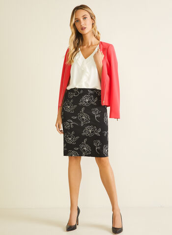 Floral Print Straight Skirt, Black,  skirt, straight, pull-on, floral, ponte di roma, spring summer 2020