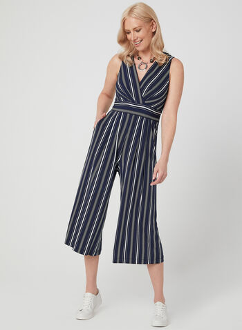 Jessica Howard - Stripe Print Jumpsuit, Blue, hi-res,  pinstripes, pinstripe print, spring 2019, summer jumpsuit, striped jumpsuit, vertical stripes, crossover top, cropped pants, wide legs, culottes,surplice neck, jersey