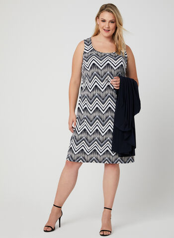 Printed Jersey Dress With Duster, Blue, hi-res