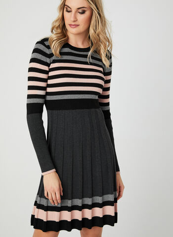 Ribbed Fit & Flare Dress, Black, hi-res