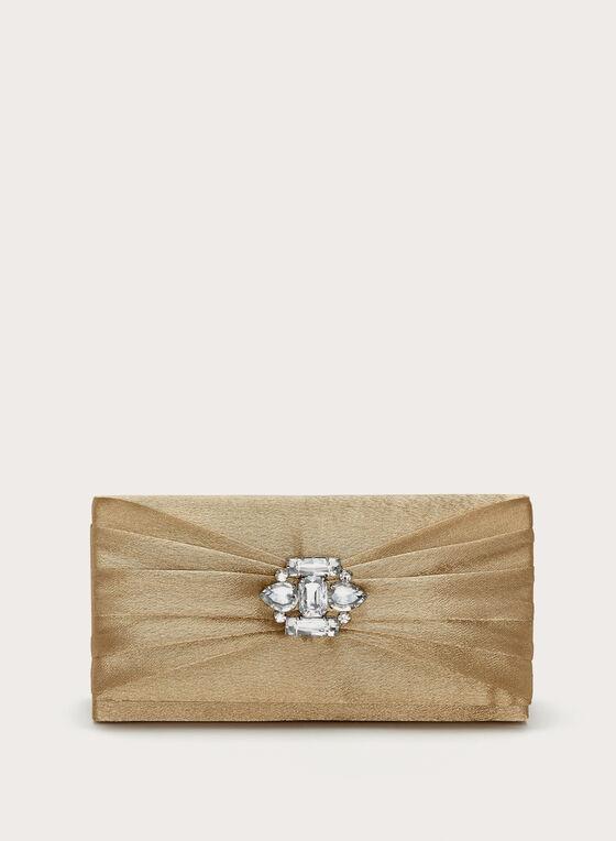 Pochette dorée avec drapé et bijou, Or, hi-res