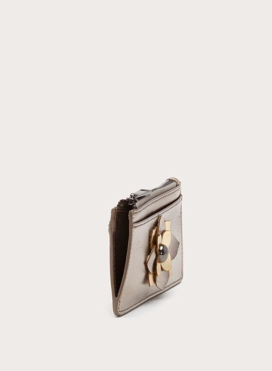 Porte-monnaie métallisé avec détail fleur, Gris, hi-res