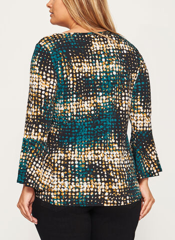 Abstract Print Bell Sleeve Top, , hi-res