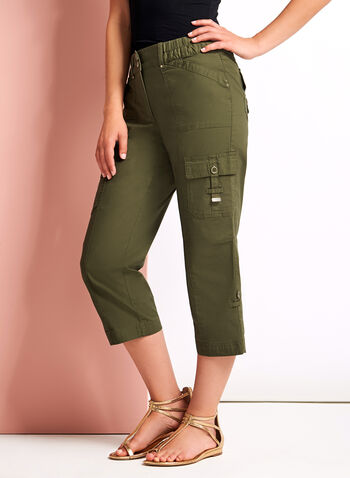 Modern Fit Cargo Capris, Green, hi-res