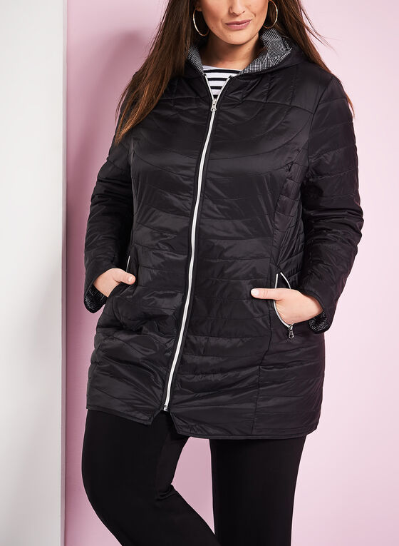 Quilted Polyfill Packable Coat, Black, hi-res