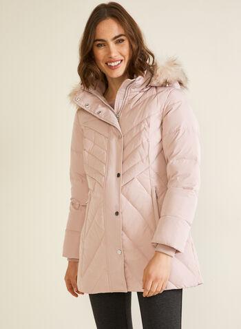 Manteau à capuchon en duvet mélangé, Rose,  automne hiver 2020, manteau, capuchon, fausse fourrure, duvet, col montant, hydrofuge, manteau d'hiver, plumes