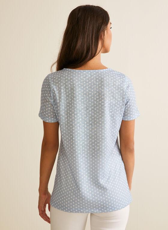 T-shirt à pois et poche poitrine, Blanc