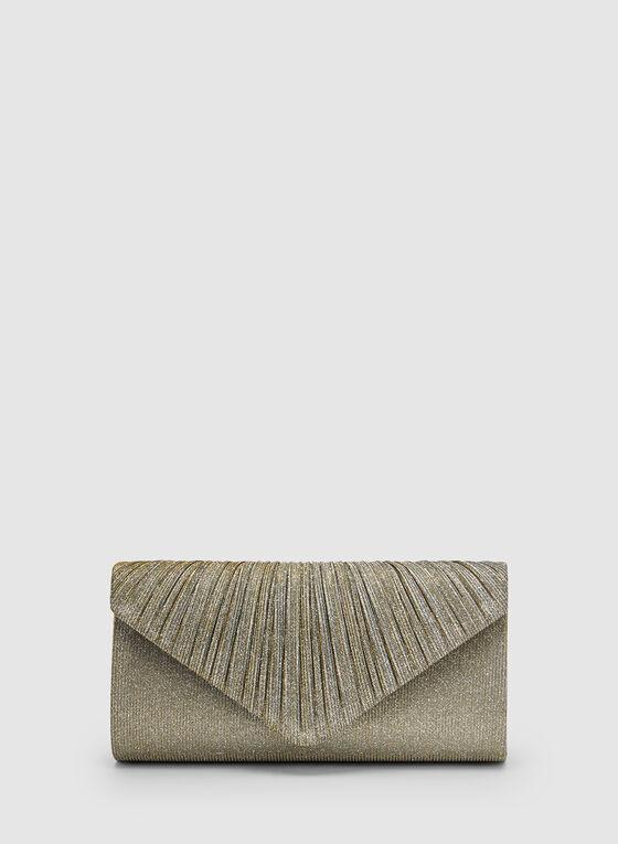 Pochette enveloppe pailletée et plissée, Or, hi-res