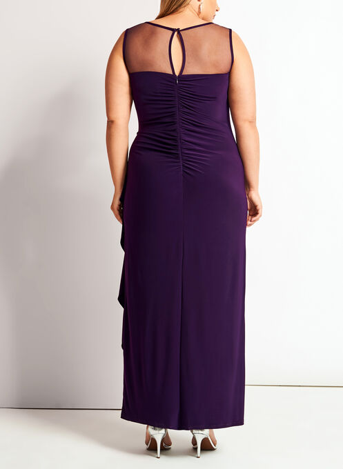 Mesh Yoke Jersey Gown with Shawl, Purple, hi-res