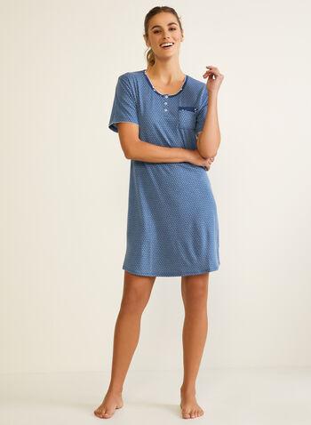 Short Sleeve Nightshirt, Blue,  fall winter 2020, pyjama, nightshirt, pocket