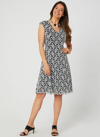 Lace Fit & Flare Dress, Black, hi-res,  fall 2019, jacquard, lace, sleeveless, V-neck, scalloped