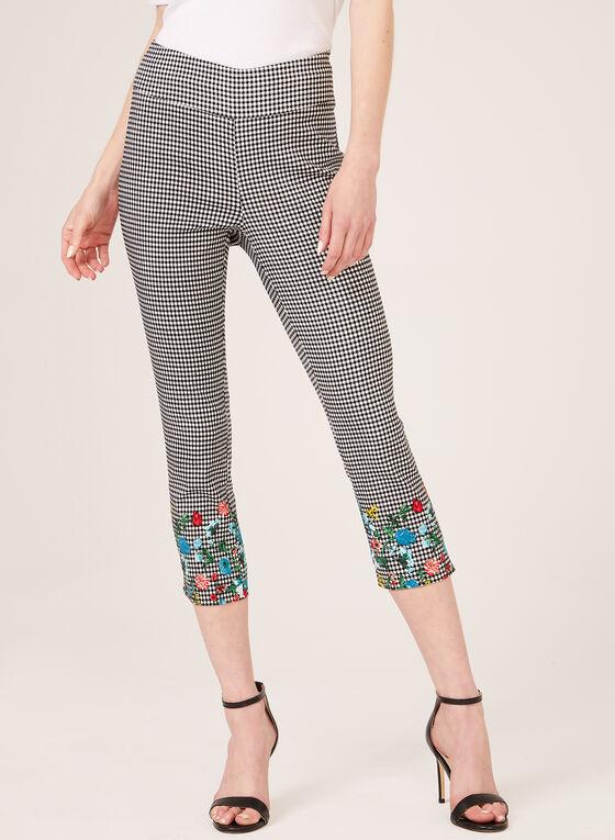 Jules & Leopold - Capri jambe étroite à carreaux et fleurs, Noir, hi-res