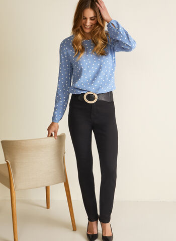 Polka Dot Print Blouse, Blue,  blouse, long sleeves, polka dot, spring 2020, summer 2020