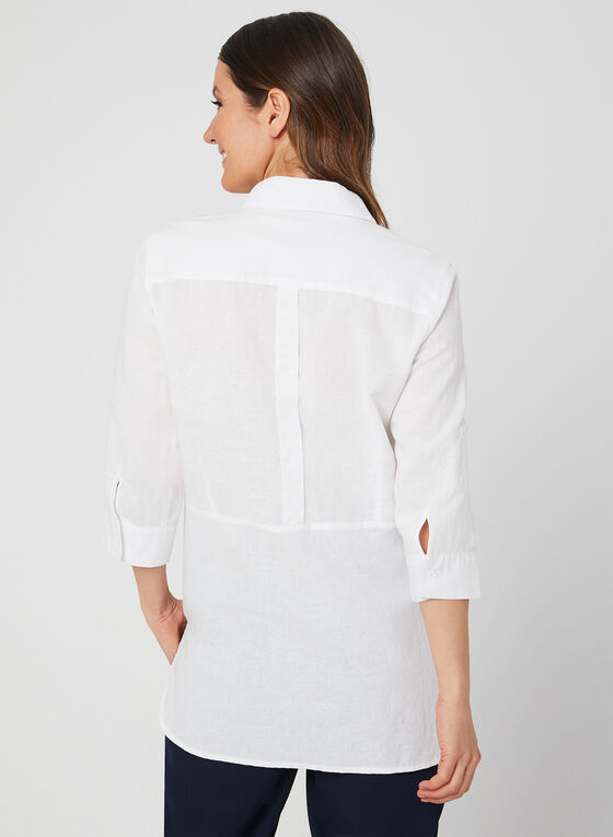 Lily Moss - ¾ Sleeve Button Down Blouse, White