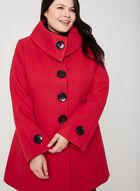 Manteau aspect laine à manches évasées, Rouge