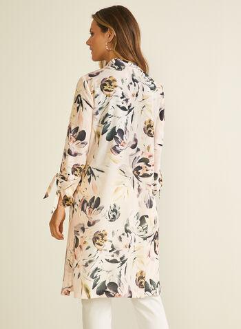 Veste ouverte à fleurs, Violet,  veste, ouverte, fleurs, manches 3/4, nouées, crêpe, printemps été 2020