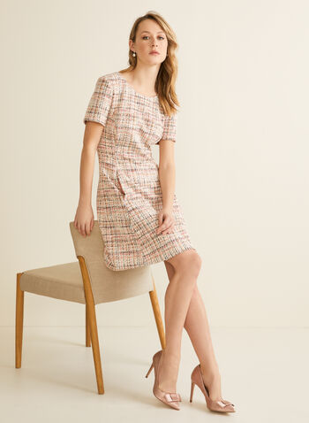 Robe en tweed à manches courtes, Rose,  printemps été 2020, robe, ajustée, tweed, manches courtes, bouclé