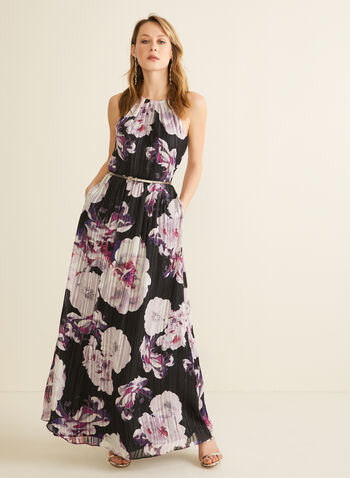 Floral Print Belted Maxi Dress, Black,  dress, maxi, pleated, floral, chiffon, jersey, keyhole, belt, spring summer 2020