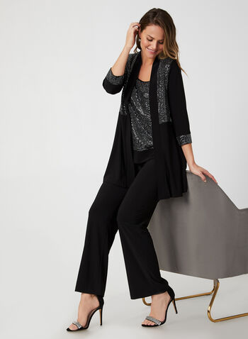 Glitter Detail Pantsuit, Black,  fall winter 2019, evening, jersey fabric, 3/4 sleeves, long sleeves