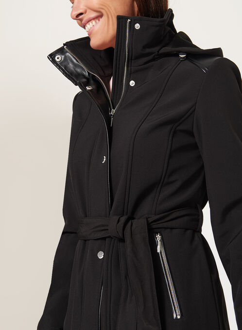 Belted Softshell Coat, Black, hi-res
