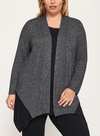 Heather Print Open Front Cardigan, Grey, hi-res