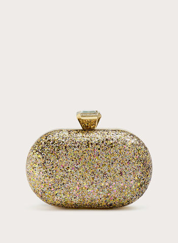 Pavé Oval Clutch , Gold, hi-res