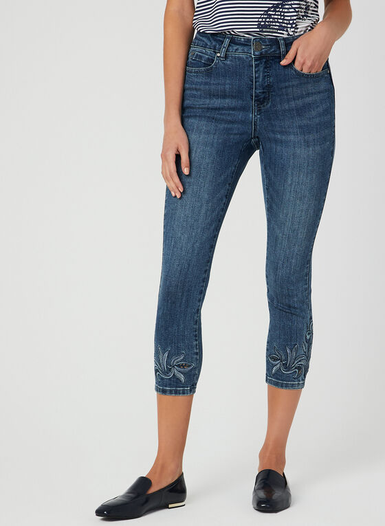 Modern Fit Embroidered Capri Pants, Blue, hi-res