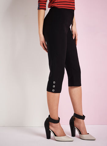 Bengaline Grommet Trim Capri Pants, Black, hi-res