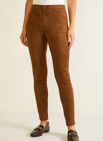 Zipper Detail Faux Suede Leggings, Brown,  fall winter 2020, leggings, pull-on, elastic waist, suede, zipper
