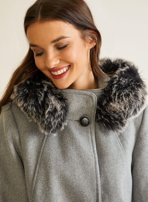 Manteau à capuchon en laine mélangée, Gris