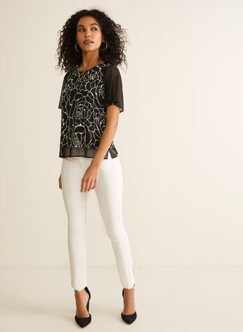 Pantalon coupe cité à jambe droite, Blanc cassé,  pantalon, cit, jambe droite, pinces, coutures, coton, printemps été 2020