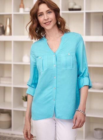 Blouse en lin à col tunisien, Bleu,  haut, blouse, col tunisien, manches longues, pattes, bouton, fermeture boutonnée, poches appliquées, pli d'aisance, lin, printemps été 2021
