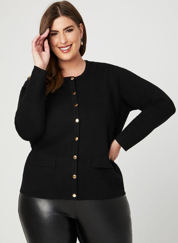 Button Front Knit Cardigan, Black, hi-res