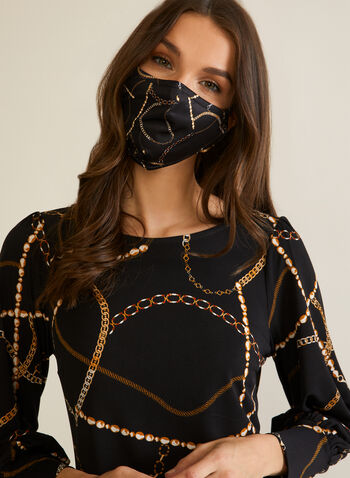 Chain Print Mask, Black,  mask, cotton, reusable, washable, chain print, fall winter 2020