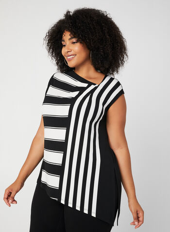 Stripe Print Jersey Top, Black, hi-res,  sleeveless, fall winter 2019, jersey, stripe print