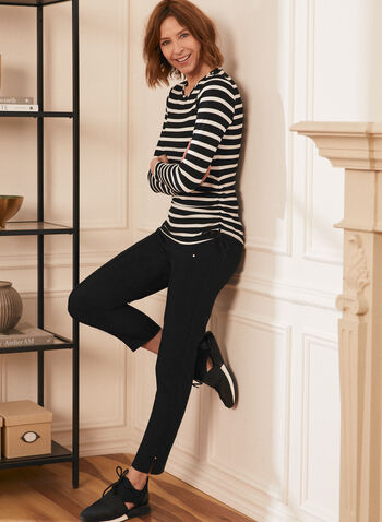 Stripe Print Long Sleeve Tee, Black,  top, t-shirt, tee, stripe print, long sleeves, made in Canada, spring summer 2021