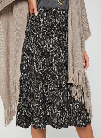 Jupe à godets motif serpent, Noir, hi-res,  jupe, pull-on, peau de serpent, godets, tricot, automne hiver 2019