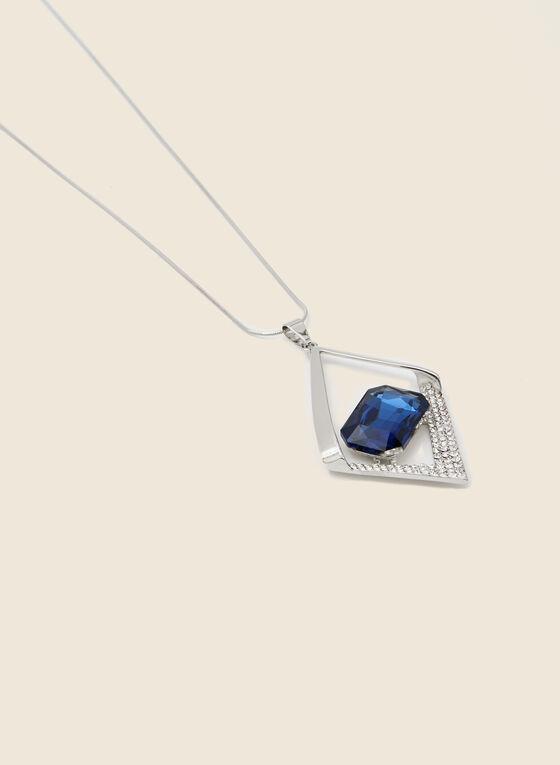 Collier long à losange ajouré et pierre facettée, Bleu