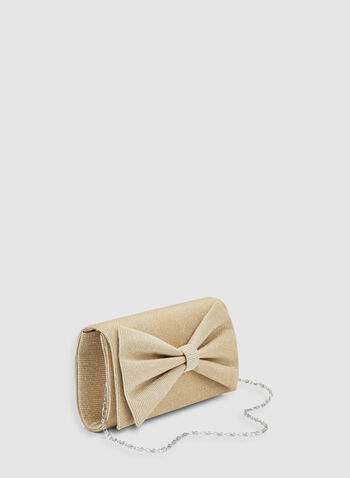 Bow Detail Glitter Clutch, Gold, hi-res