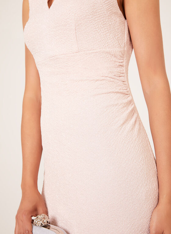 Crystal Detail Metallic Accent Dress, Pink, hi-res