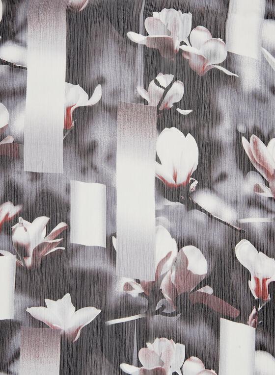 Foulard en mousseline motif fleurs de cerisier, Noir, hi-res