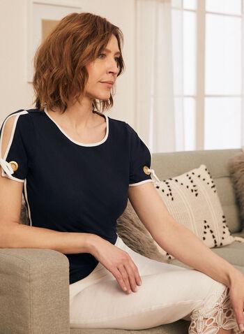 T-shirt contrastant à détail lien, Bleu,  t-shirt, col v, manches courtes, fendues, lien, œillet, coton, printemps été 2020
