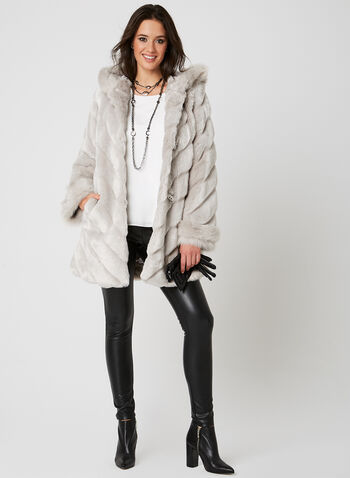 Nuage - Hooded Faux Fur Coat, Silver, hi-res