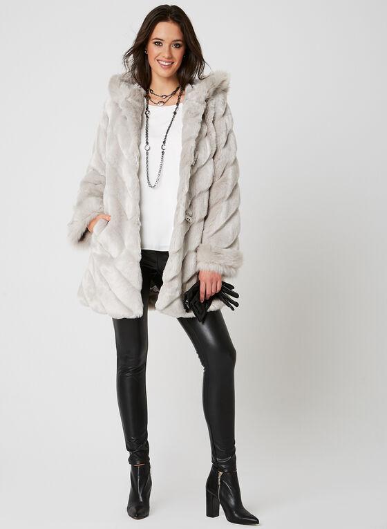Nuage - Hooded Faux Fur Coat, Silver, hi-res