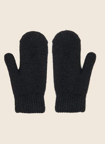 Pompom Detail Mittens, Black,  fall winter 2020, gloves, mittens, mitt, wool, acrylic, fur, pompom, pom pom, winter accessories, outerwear, cute, gift, holiday, stocking stuffer, warm, soft