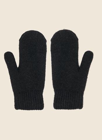 Mitaines à pompons , Noir,  automne hiver 2020, mitaines, hiver, fausse fourrure, pompon, gants, laine