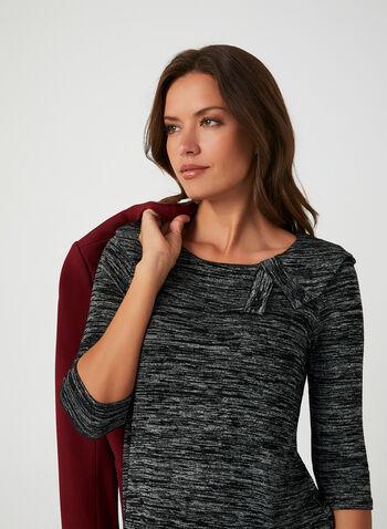 Haut avec col à rabat, Noir, hi-res,  manches 3/4, manches ¾, encolure ronde, détails boutons, boutonné, tricot chiné